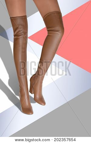 Hessian. A girl in high-heeled boots goes on an abstract background.