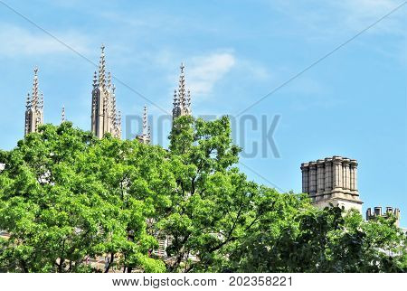 Church steeples with trees in the foreground