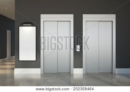 Front view of concrete room office hall interior with lift empty poster and shiny floor. Advertising concept. Mock up 3D Rendering