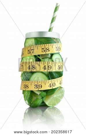 Healthy green fruits and vegetable in the shape of a jar with tape measure