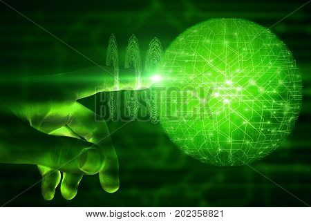 Hand pointing at abstract glowing green polygonal sphere. Future concept. 3D Rendering