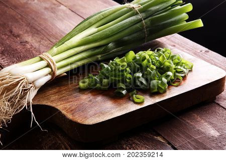Spring Onions Are Rich In Vitamins,minerals And Natural Compound. Green Onions Or Spring Onions On W
