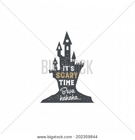 Halloween badge. Vintage hand drawn logo design. Monochrome style. Typography elements and Halloween symbol - horror castle. Stock vector isolated on white background.