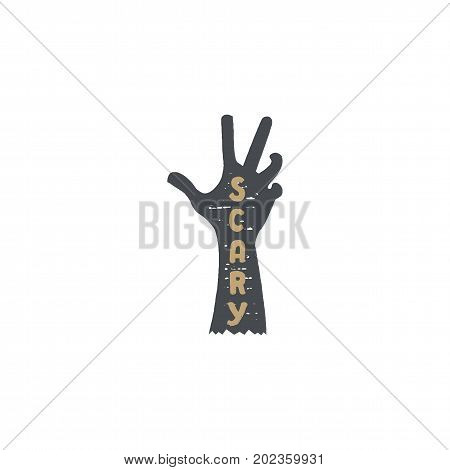 Halloween badge. Vintage hand drawn logo design. Monochrome style. Typography elements and Halloween symbol - zombie dead hand. Stock vector isolated on white background