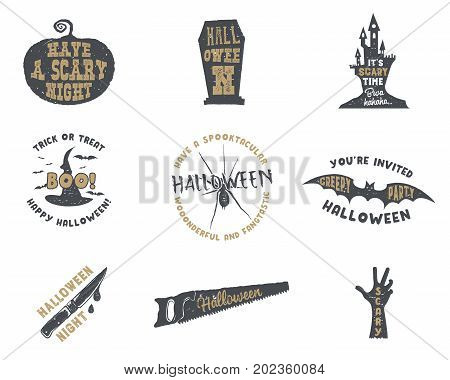 Set of halloween silhouette badges. Vintage hand drawn Halloween party logo design for celebrating holiday. Retro monochrome style. Stock vector isolated on white background.