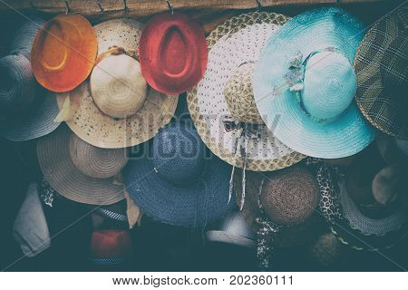 In A Old Market Lots Of Colorated Hats