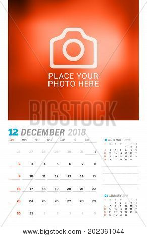 December 2018. Wall Calendar Planner Template. Vector Design Print Template With Place For Photo. We