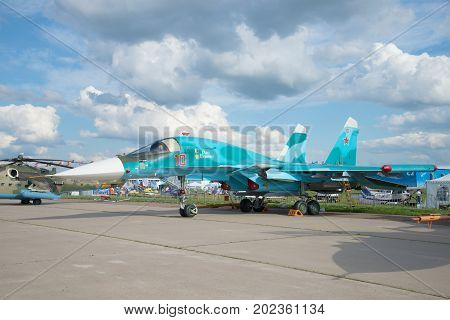ZHUKOVSKY, RUSSIA - JULY 20, 2017: Russian multifunctional fighter-bomber Su-34 takes part in the MAKS-2017 air show