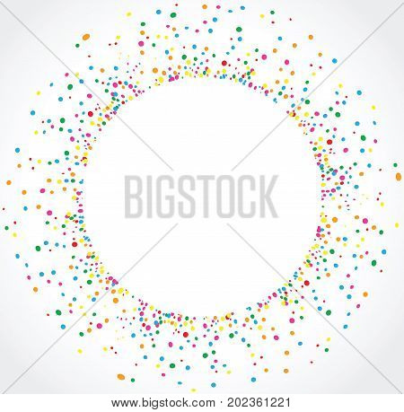 Light background in circular format with colorful dots texture around a space for text