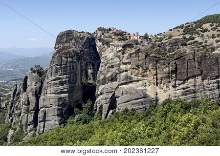 The cliffs (which are more than 60 million years old) on which the monasteries are located and the view of the Thessaly plain (Thessaly, Greece,Trikala). Center for Orthodox Monasticism in Greece.