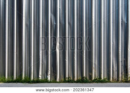 Metal Sheet Fence Enclosed Around The Construction Site