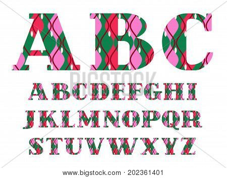 English alphabet, decorative, geometric pattern, green-red, vector. Capital letters of the English alphabet with serif.