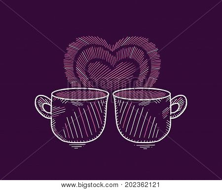 Two mugs with a romantic heart in the dark background