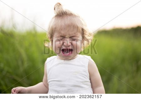 A Crying baby alone in the meadow