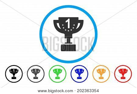 First Prize Cup vector rounded icon. Image style is a flat gray icon symbol inside a blue circle. Additional color variants are gray, black, blue, green, red, orange.