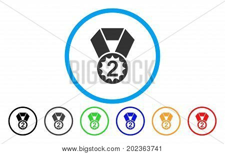 Second Place vector rounded icon. Image style is a flat gray icon symbol inside a blue circle. Bonus color versions are grey, black, blue, green, red, orange.