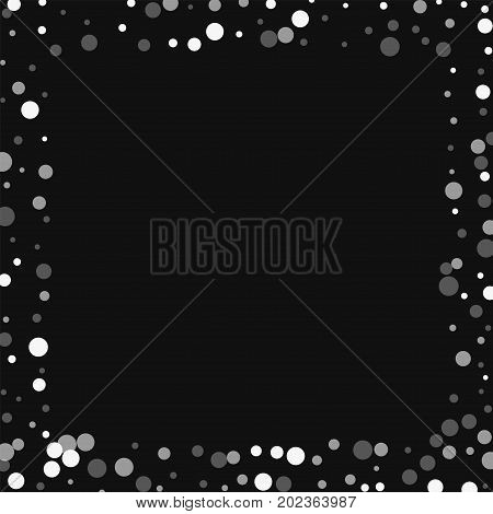 Falling White Dots. Square Scattered Border With Falling White Dots On Black Background. Vector Illu