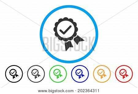 Validity Seal vector rounded icon. Image style is a flat gray icon symbol inside a blue circle. Additional color versions are gray, black, blue, green, red, orange.