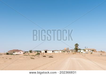 SKELETON COAST NATIONAL PARK NAMIBIA - JUNE 28 2017: The village at the Ugabmund Gate of the Skeleton Coast National Park of Namibia