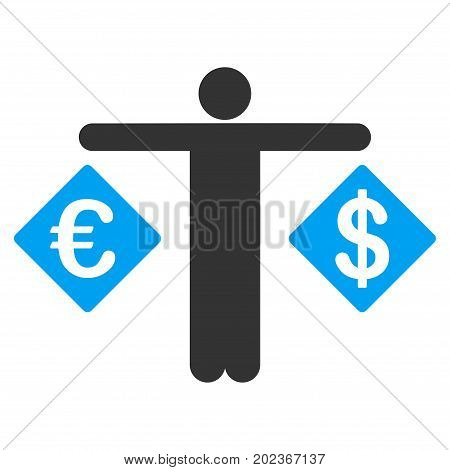 Person Compare Dollar And Euro vector icon. Flat bicolor blue and gray symbol. Pictogram is isolated on a white background. Designed for web and software interfaces.