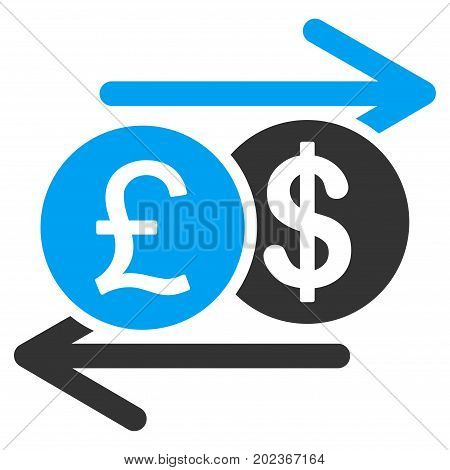 Pound Dollar Exchange vector icon. Flat bicolor blue and gray symbol. Pictogram is isolated on a white background. Designed for web and software interfaces.