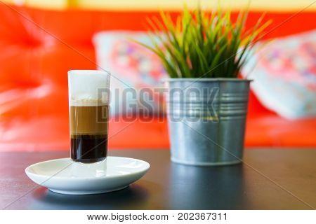 Latte Macchiato Or Espresso Macchiato With Mock Up Plant On The Table In Cafe. Coffee Menu Concept.