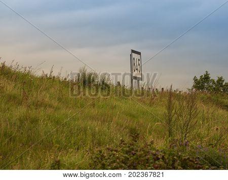 sign on the banks of the rhine 845 kilometers Grieth am Rhein Germany