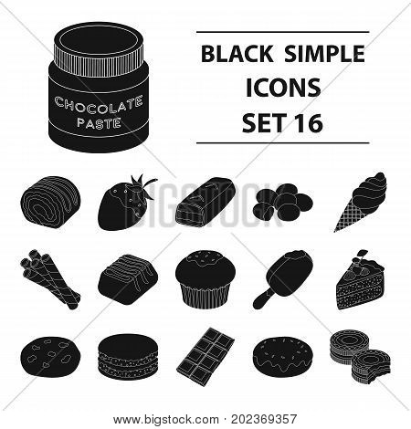Chocolate desserts set icons in black design. Big collection of chocolate desserts vector symbol stock illustration