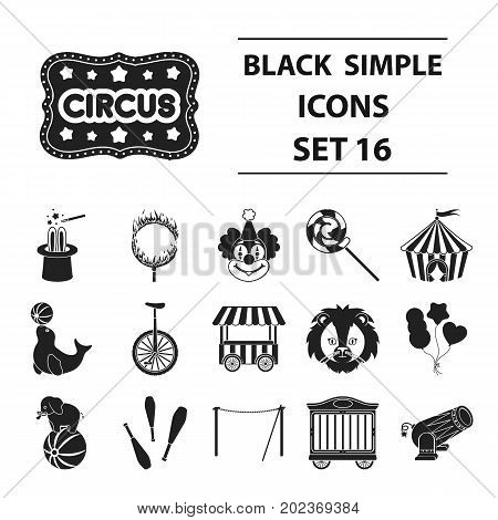 Circus set icons in black style. Big collection circus vector symbol stock