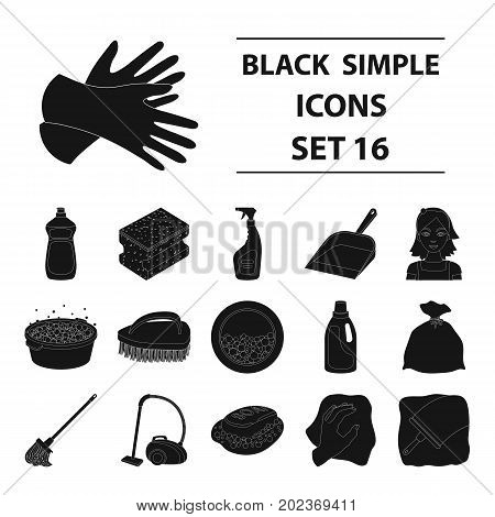 Cleaning set icons in black design. Big collection of cleaning vector symbol stock illustration