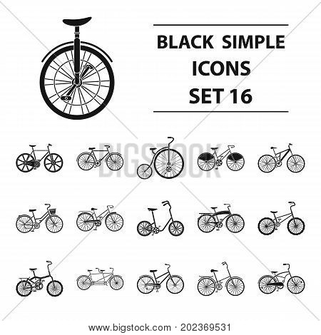 Different models of bicycles. Different bicycle set collection icons in black style vector symbol stock illustration .
