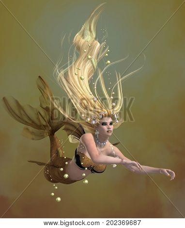 Golden Mermaid 3d illustration - A mermaid is a mythical legendary creature composed of a beautiful woman with a fish tail.