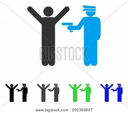 Police Arrest vector pictograph. Style is a flat graphic symbol in black, gray, blue, green color variants. Designed for web and mobile apps.