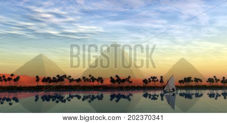 The Great Pyramids and Nile River 3d illustration - The Great Pryamids stand majestically over the Nile River running through the land of Egypt.