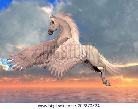 White Arabian Pegasus Horse 3d illustration - An Arabian Pegasus horse rises on powerful wings to fly over the ocean on a sunny day.