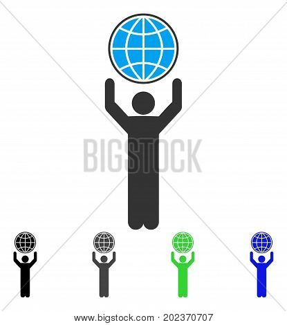 Globalist vector pictogram. Style is a flat graphic symbol in black, gray, blue, green color variants. Designed for web and mobile apps.