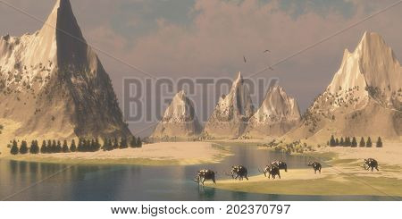 Woolly Mammoths 3d illustration - Bald Eagles fly overhead looking for fish as a herd of Woolly Mammoths come down to a river for a drink.