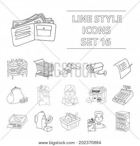 Supermarket set icons in outline design. Big collection of supermarket vector symbol stock illustration