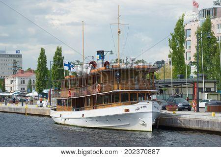 SAVONLINNA, FINLAND - JUNE 17, 2017: The old passenger steamship