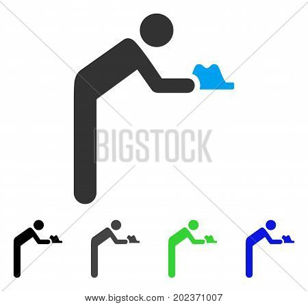 Servant Person vector pictogram. Style is a flat graphic symbol in black, grey, blue, green color variants. Designed for web and mobile apps.