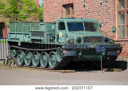 HAMENENLINA, FINLAND - JUNE 10, 2017: Soviet artillery caterpillar tractor ATS-59 in the artillery museum of Hameenlina