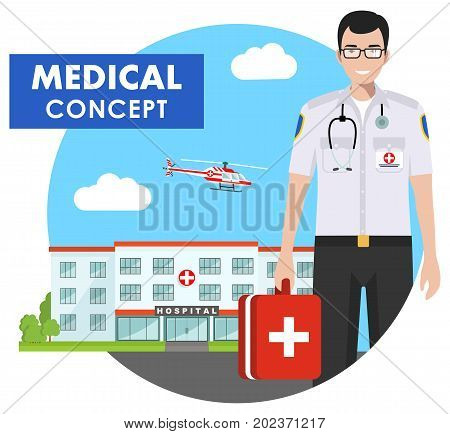 Medical concept. Detailed illustration of medical people in uniform on background with medical center flying helicopter in flat style. Vector illustration.