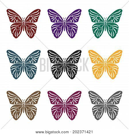 Butterfly icon in black design isolated on white background. Insects symbol stock vector illustration.