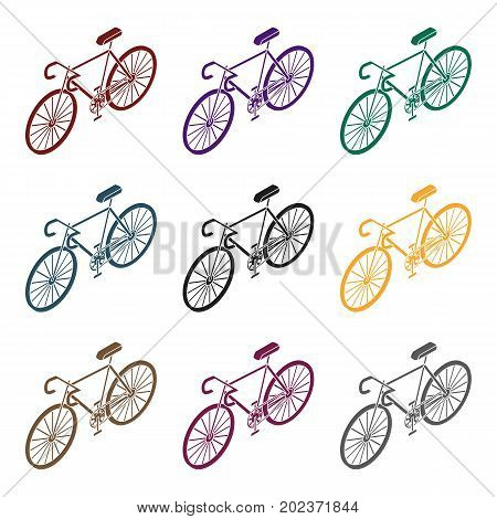 Bicycle icon in black design isolated on white background. Transportation symbol stock vector illustration.