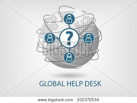 Global help desk concept vector icon with icons