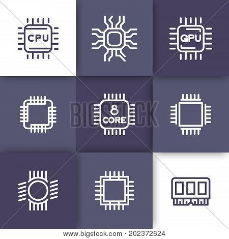 Chipset, cpu line icons set, microchip, 8-core processor, gpu