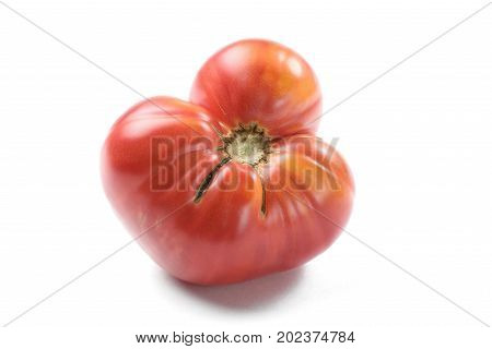 Imperfect big red heirloom tomato isolated closeup