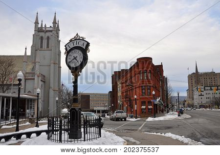 UTICA, NY, USA - FEB. 22, 2013: Historic Building in Lower Genesee Street Historic District in downtown Utica, New York State, USA. This area is a National Register of Historic Places.