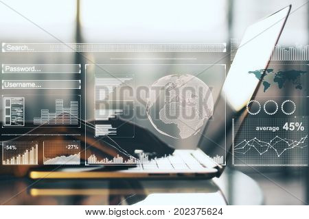 Side view of hands using laptop with digital business hologram placed on desktop and blurry background. Innovation concept. Double exposure