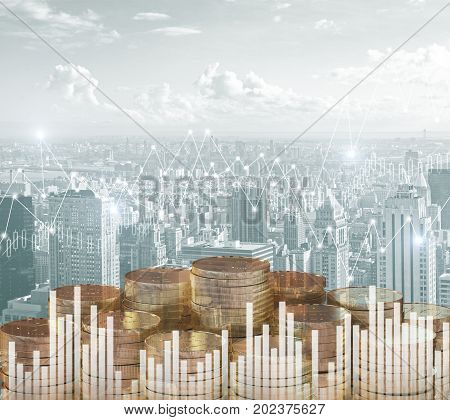 Abstract golden coin piles on city background with forex chart. Financial growth concept. Double exposure